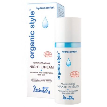 Восстанавливающий ночной крем для нормальной и комбинированной кожи лица Organic Style hydrocomfort  (Dzintars)