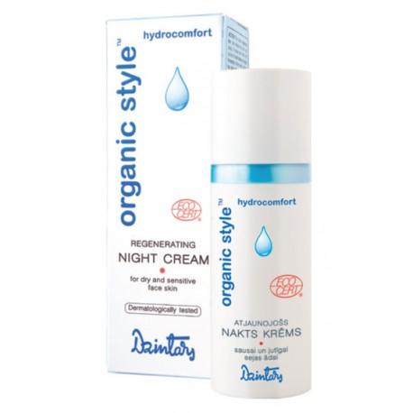 Восстанавливающий ночной крем для сухой и чувствительной кожи лица Organic Style hydrocomfort (Dzintars)